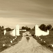 "The imposing farm gates, bearing the legend ""Kersefontein 1744"""